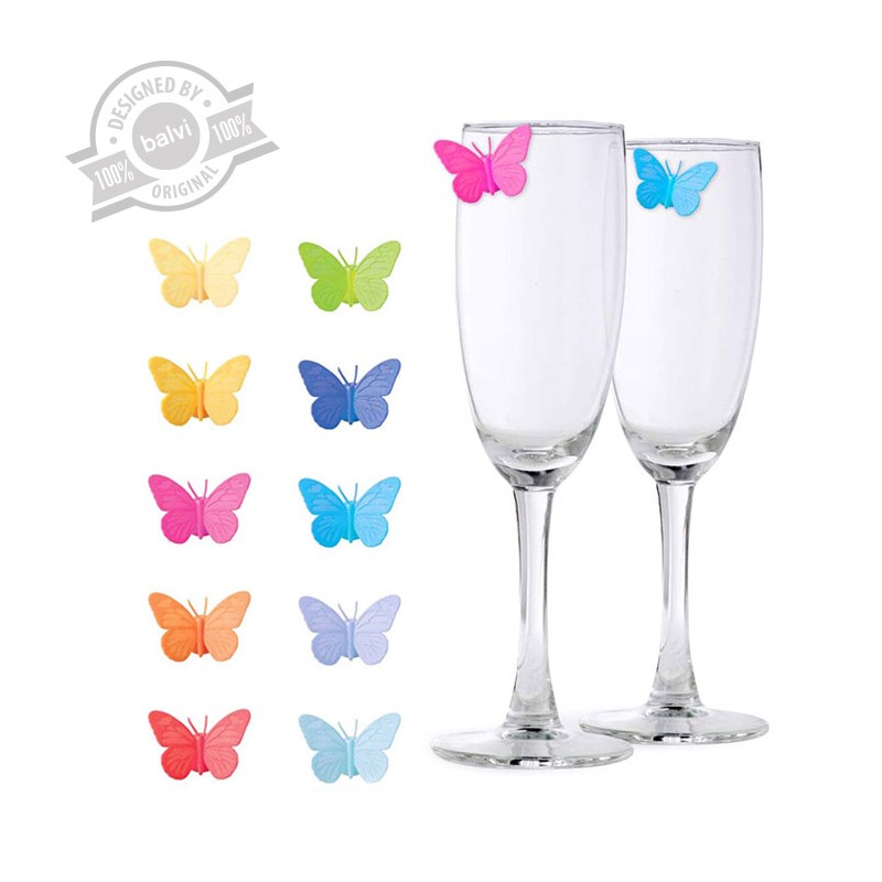Set 10 segna bicchieri marcatori farfalle in silicone - DRINK A WINGS by BALVI