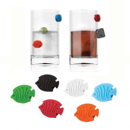 6 Segna bicchieri pesciolini in silicone - AQUARIUM by BALVI