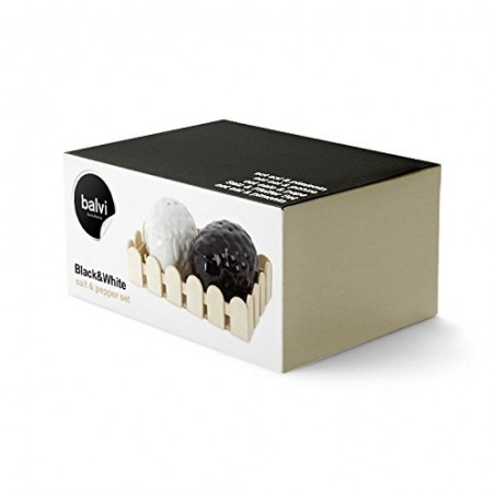 Set sale e pepe pecore in ceramica con cestino - BLACK&WHITE by BALVI