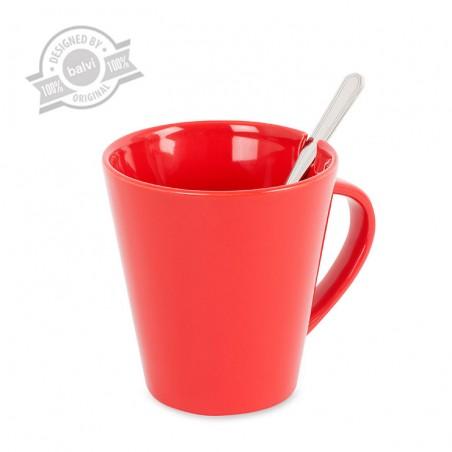 Tazza in ceramica colore rosso con cucchiaino inox - COFIX by BALVI