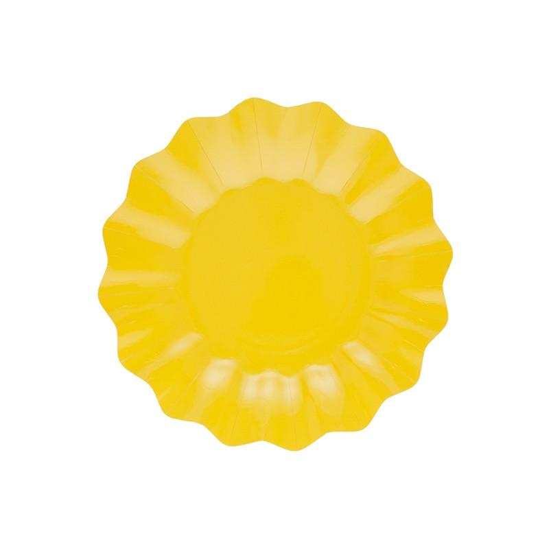 8 piatti in carta colore giallo cm 27 - NEW WAVE by GIVI ITALIA