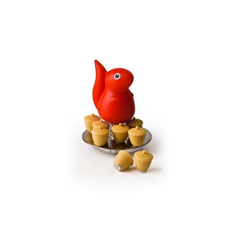 Scoiattolo rosso con 8 magneti ghiande - SQUIRREL & ACORN by Qualy