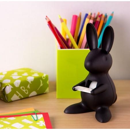 Dispenser nastro adesivo a forma di coniglio colore nero - DESK BUNNY by QUALY