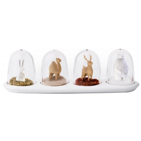 set 4 Portaspezie con piattino - ANIMAL PARADE by QUALY DESIGN