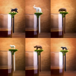 6 segnabicchieri con spiedino animali - HOT PARTY ANIMAL by QUALY DESIGN