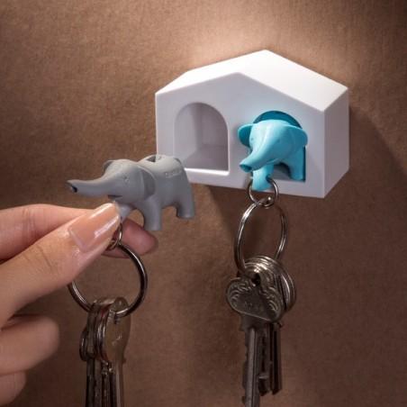 2 portachiavi con supporto da parete elefantini - MINI DUO ELEPHANT by QUALY