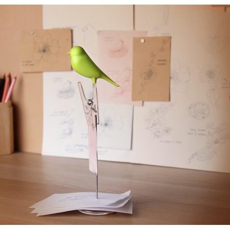 Porta appunti con uccellino 2 varianti di colore - NOTE SPARROW by QUALY DESIGN