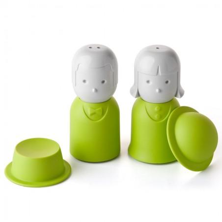 Set sale e pepe con coperchio colore verde - MR. PEPPER & MRS. SALT by QUALY