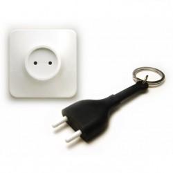 Portachiavi con supporto da parete spina elettrica colore nero - UNPLUG KEY by QUALY