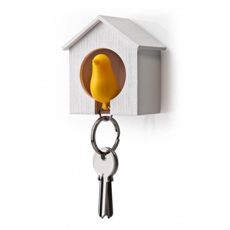 Portachiavi con supporto da parete bianco/giallo - SPARROW KEYRING by QUALY DESIGN