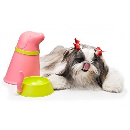 Ciotola e contenitore croccantini per cani colore rosa - PUPP PET BOWL by QUALY