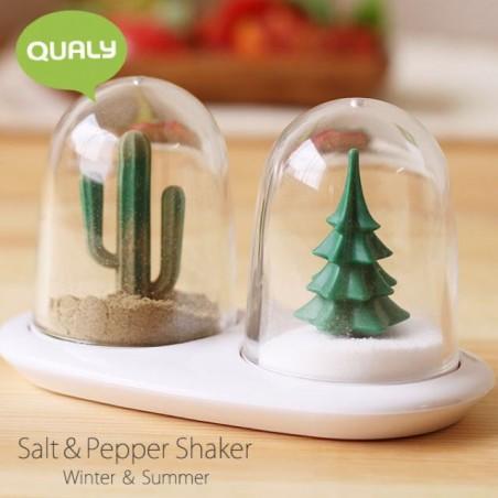 Set sale e pepe con piattino alberelli estate e inverno - Winter and Summer by QUALY