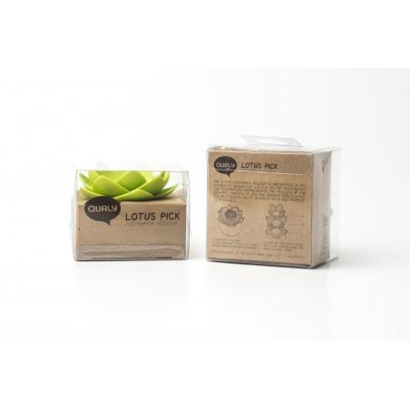 Contenitore Portastuzzicadenti a forma di loto colore bianco verde- LOTUS PICK by QUALY