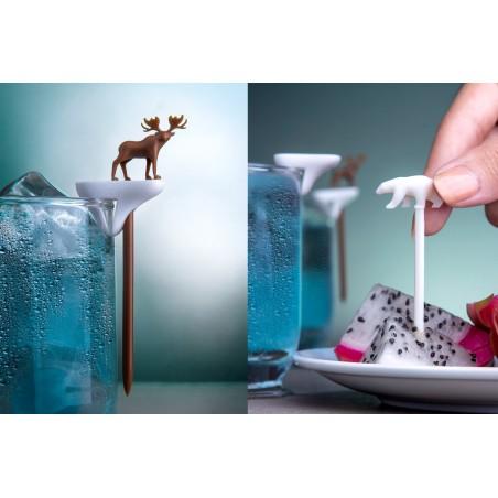 6 Segnabicchieri con spiedino - COOL PARTY ANIMAL by QUALY