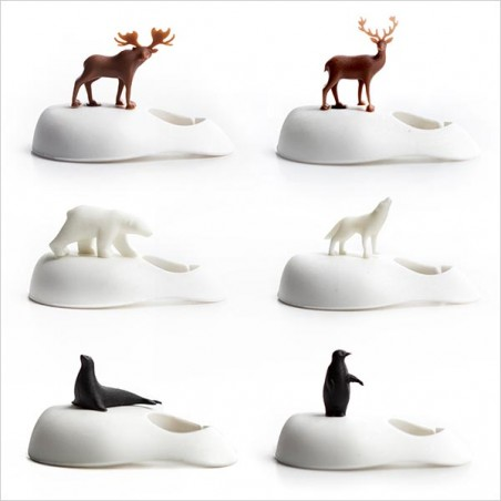 6 Segnabicchieri calici con animali del freddo - COOL WINE ANIMAL by QUALY