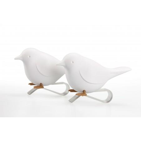 2 Portatovagliolo a clip con uccellino colore bianco - SPARROW by QUALY