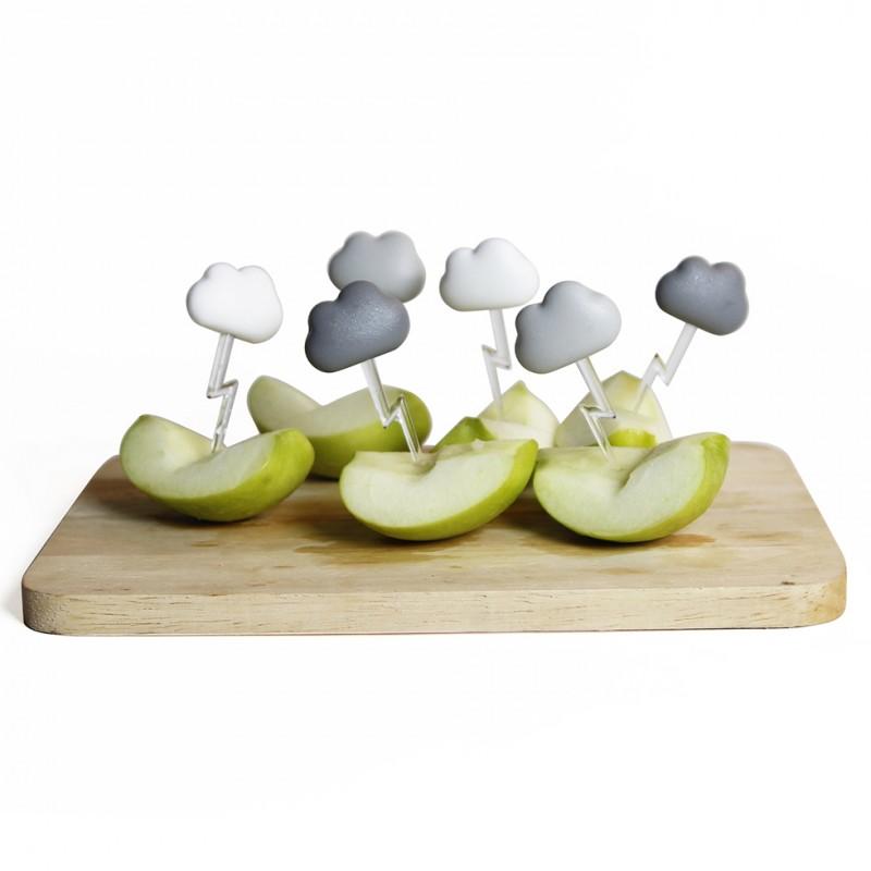 6 Spiedini per aperitivo nuvolette e saetta colore grigio bianco - CLOUD by QUALY DESIGN