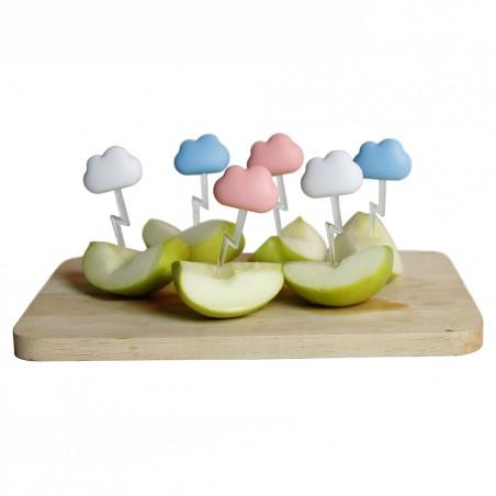 6 Spiedini per aperitivo nuvolette colore rosa celeste bianco - CLOUD by QUALY