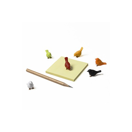 6 magneti mini uccellini colori assortiti - SPARROW by QUALY