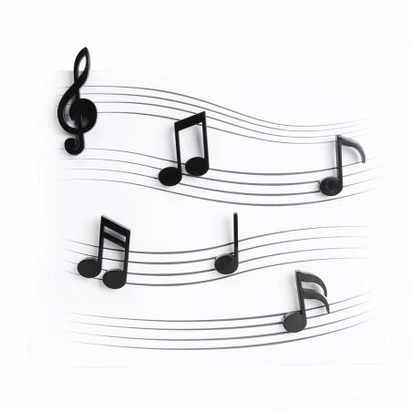 6 magneti a forma di chiave e note musicali colore nero - MEMODY by QUALY DESIGN