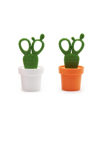 Forbici e contenitore in 2 alternative di colore - CACTUS by QUALY