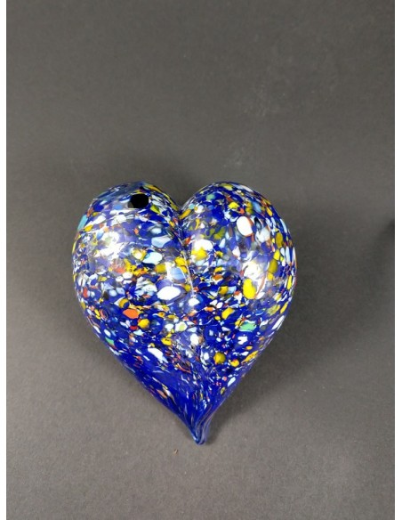 Cuore in vetro di murano colore blu - The Glass Cathedral Santa Chiara