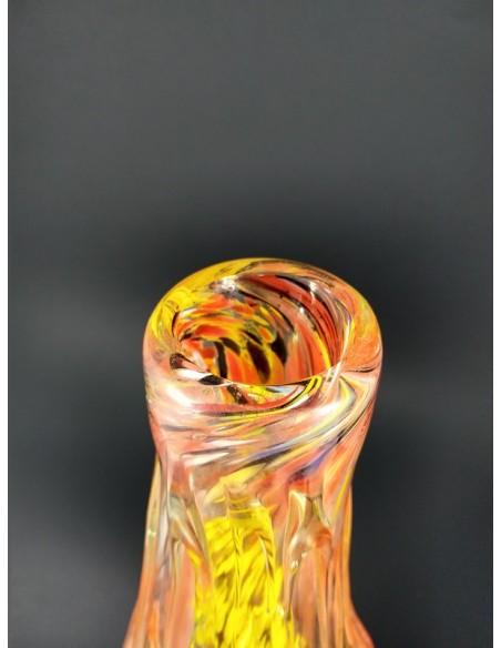 Vaso in vetro di Murano con colature colore arancio - The Glass Cathedral Santa Chiara