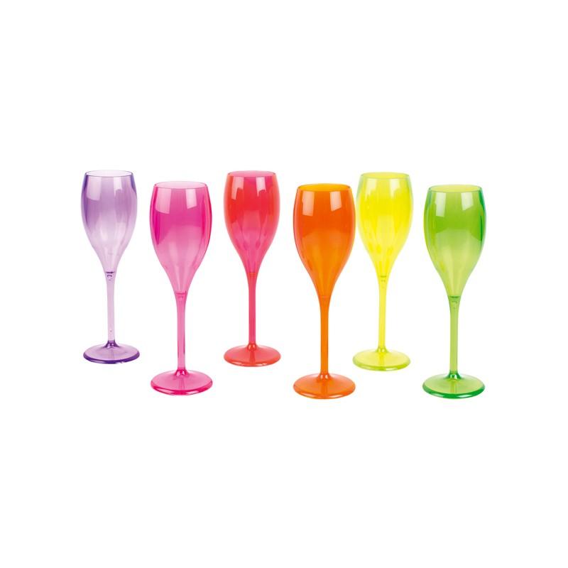 6 Flutes Luxury fluo 6 colori assortiti infrangibili e lavabili in lavastoviglie - GIVI ITALIA