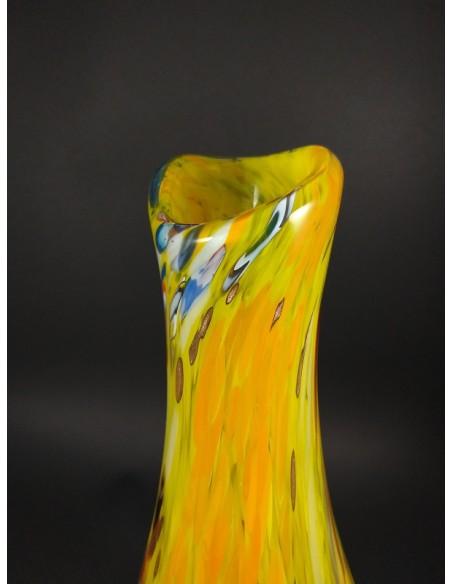 Vaso giallo in vetro di Murano con murrine colorate - The Glass Cathedral Santa Chiara