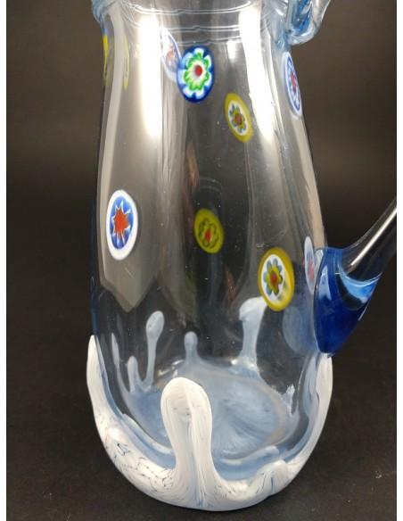 Caraffa celeste e murrine colorate vetro di Murano - The Glass Cathedral Santa Chiara