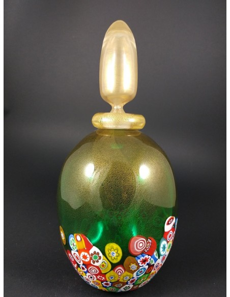 Bottiglia in vetro di murano verde e oro con murrine h 30 cm -The Glass Cathedral Santa Chiara