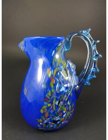 Caraffa lusso in vetro di murano blu con foglie e murrine - The Glass Cathedral Santa Chiara