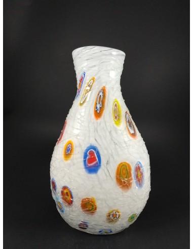 Vaso in vetro di Murano con colature e murrine h 30 cm - The Glass Cathedral Santa Chiara