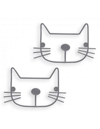2 appendini da parete gatto grigio chiaro - THE CAT by Balvi
