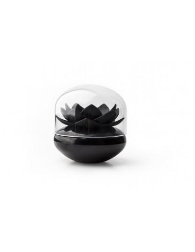 Porta Bastoncini di cotone Fiore colore nero - LOTUS by Qualy