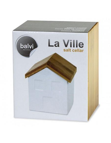 Contenitore porta sale da cucina in ceramica e bamboo - LA VILLE by Balvi