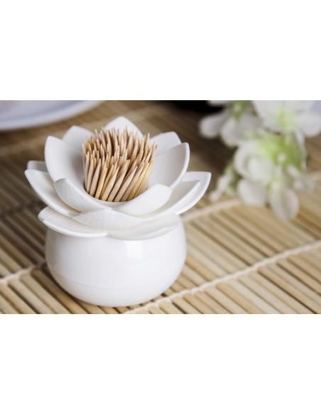 Contenitore Portastuzzicadenti a forma di loto colore bianco - LOTUS PICK by QUALY