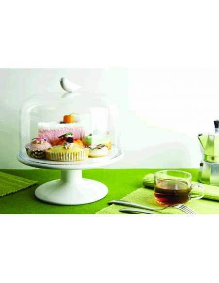 Alzata porta dolci uccellino colore bianco - SWEET TWEET TRAY M By Qualy Design