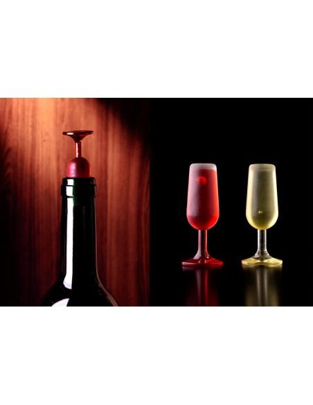 2 Tappi per bottiglia calice rosso e bianco - T-VIN by Qualy