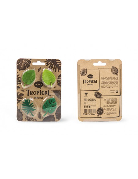 4 Magneti foglie tropicali colore verde - TROPICAL MAGNET by Qualy