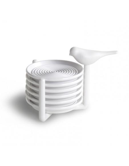 Set 6 sottobicchieri con supporto uccellino bianco - SPARROW COASTER by Qualy design