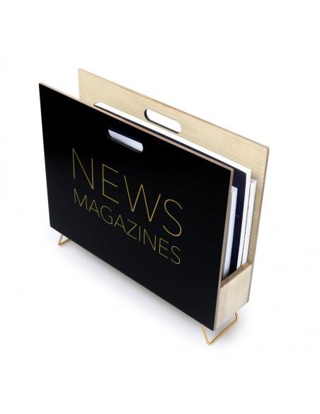 Portariviste in legno mdf colore nero - NEWS by Balvi