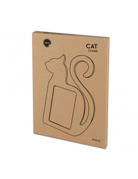 Portafoto sagoma di gatto in legno mdf colore bianco - CAT by Balvi
