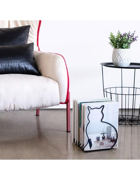 Portariviste sagoma gatto in metallo colore nero - CAT by Balvi