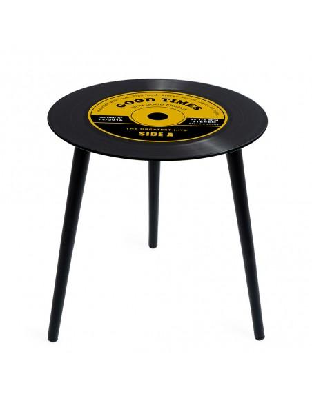 Tavolino a forma di disco in vinile colore giallo - GREATEST HITS by Balvi