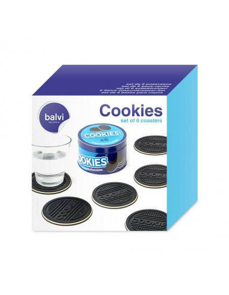 Set 6 sottobicchieri a forma di biscotto con scatola in metallo - COOKIES by Balvi