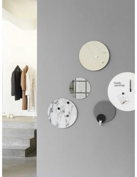 Lavagna magnetica circolare in vetro 35 cm colore marmo bianco - NORD by NAGA