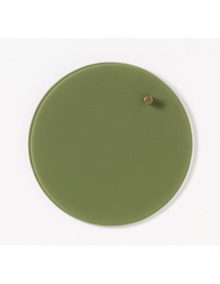 Lavagna magnetica circolare in vetro 25 cm colore verde olive - NORD by NAGA