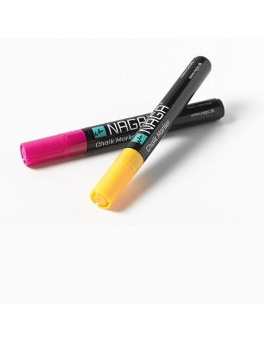 2 marcatori gesso liquido colori assortiti punta 4,5 mm reversibile by NAGA