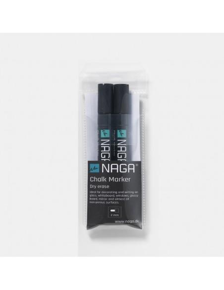 2 marcatori gesso liquido punta 2 mm reversibile 2 colori by NAGA
